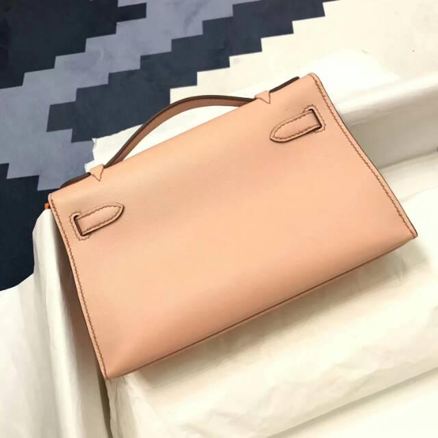 爱马仕包包 stock 22kelly pochette swift皮 裸粉 银扣 进口法国蜡线手工缝制