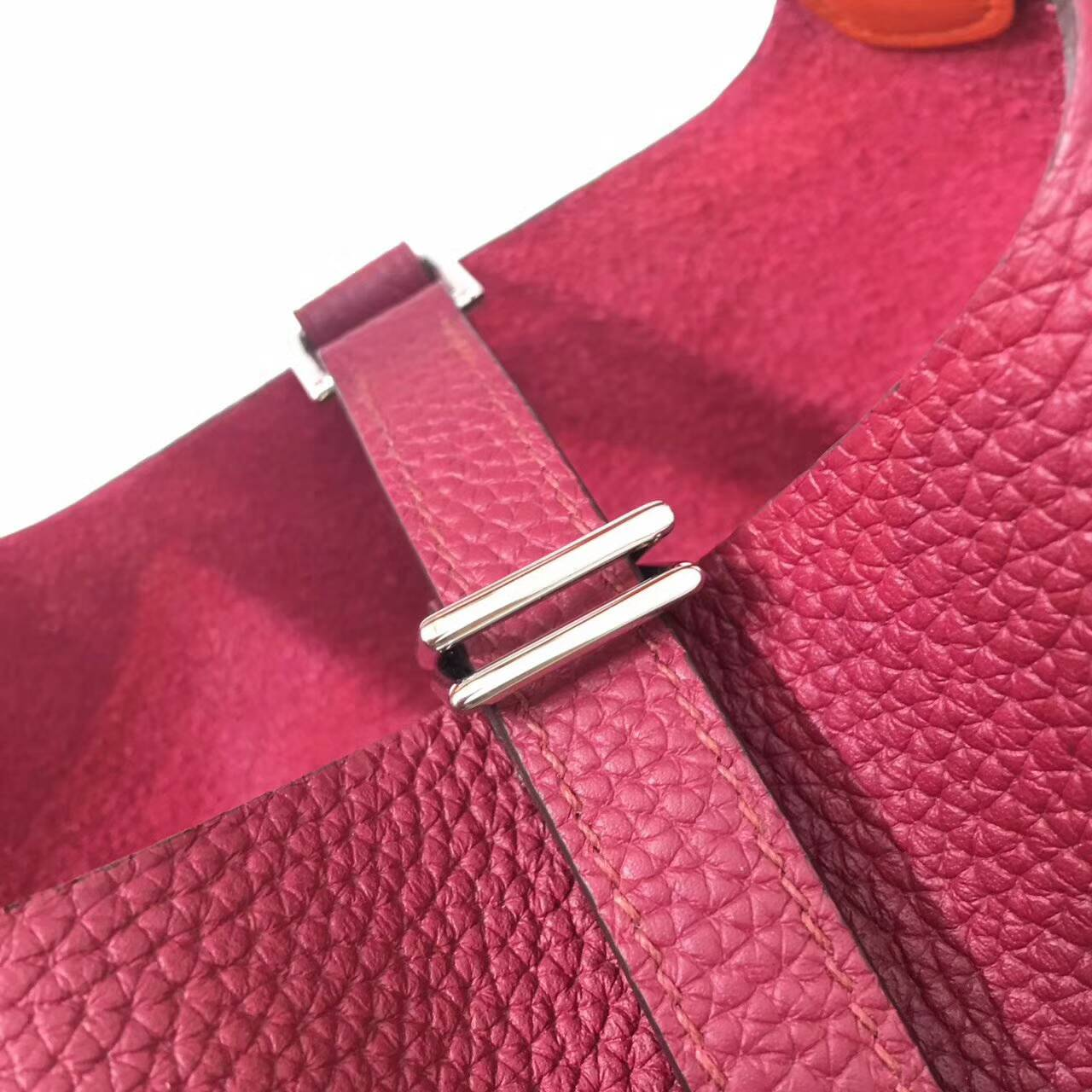 Hermes菜篮子 Picotin Lock 18cm Clemence 法国原产Tc皮 B5 Rubis 宝石红拼9J Feu火焰橙 银扣