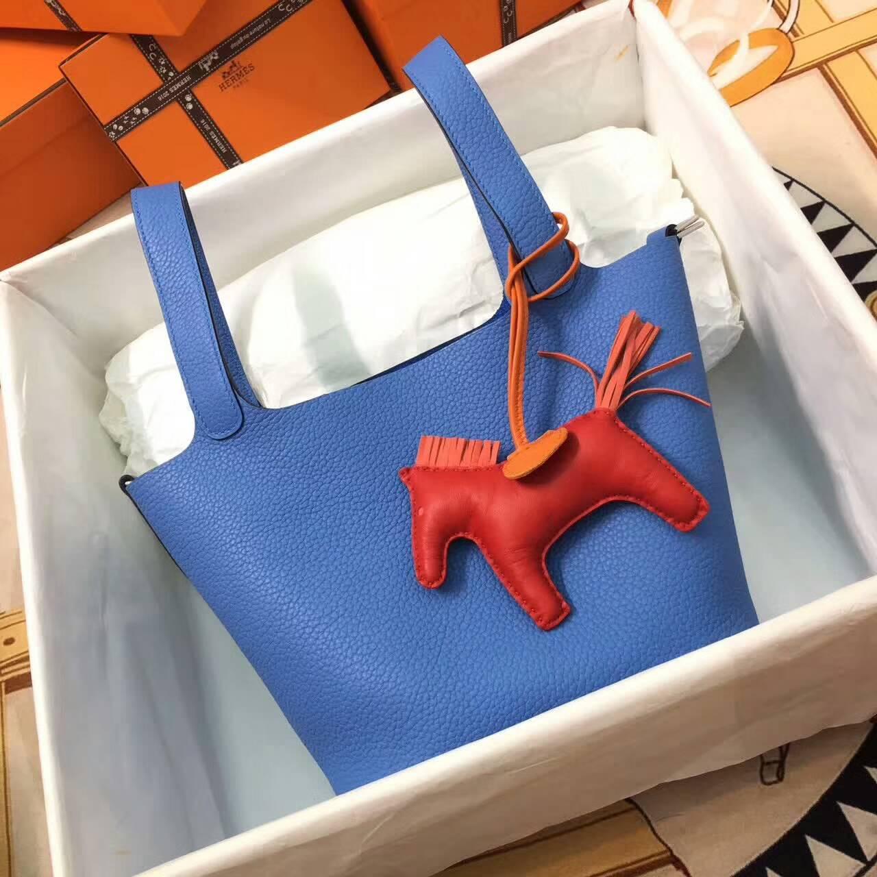 Hermes菜篮子 Picotin Lock 18cm Clemence 法国原产Tc皮 2T Blue Paradis 天堂蓝 银扣