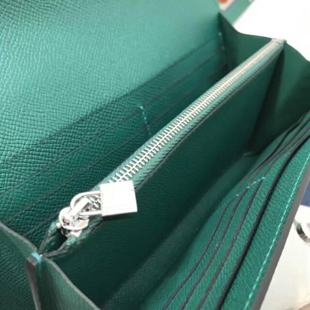 爱马仕Kelly long 21.5cm epsom Z6 Malachite 孔雀绿 银扣 手缝蜡线 看得见的工艺