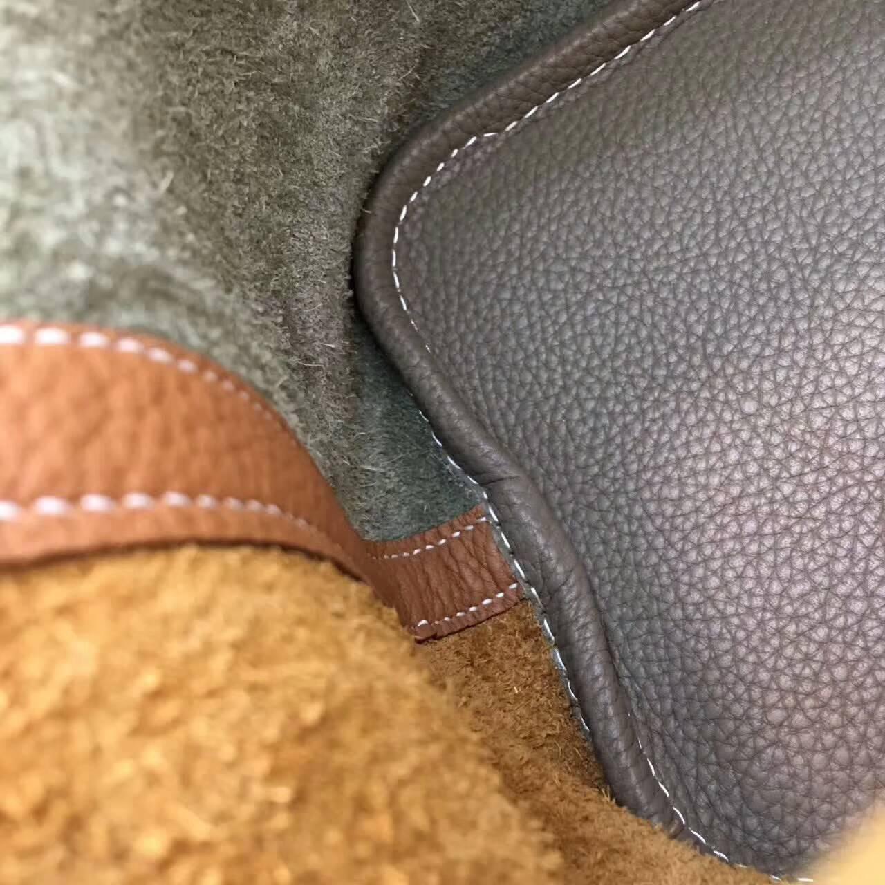 Hermes菜篮子 Picotin Lock 18cm Clemence 法国原产Tc皮 CC18 Etoupe 大象灰拼CC37 Gold 金棕 银扣