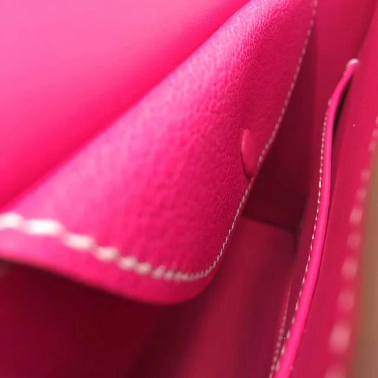 插销包手枪包 爱马仕全球同步发售 Verrou 17cm Chevre Mysore 法国原产山羊皮 E5 Rose Tyrien 玫红 银扣