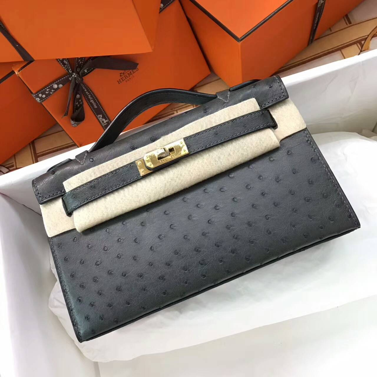 Hermes爱马仕 Mini Kelly pochette 22cm Ostrich Leather 南非原产KK级鸵鸟皮 8F Etain 锡器灰 金扣
