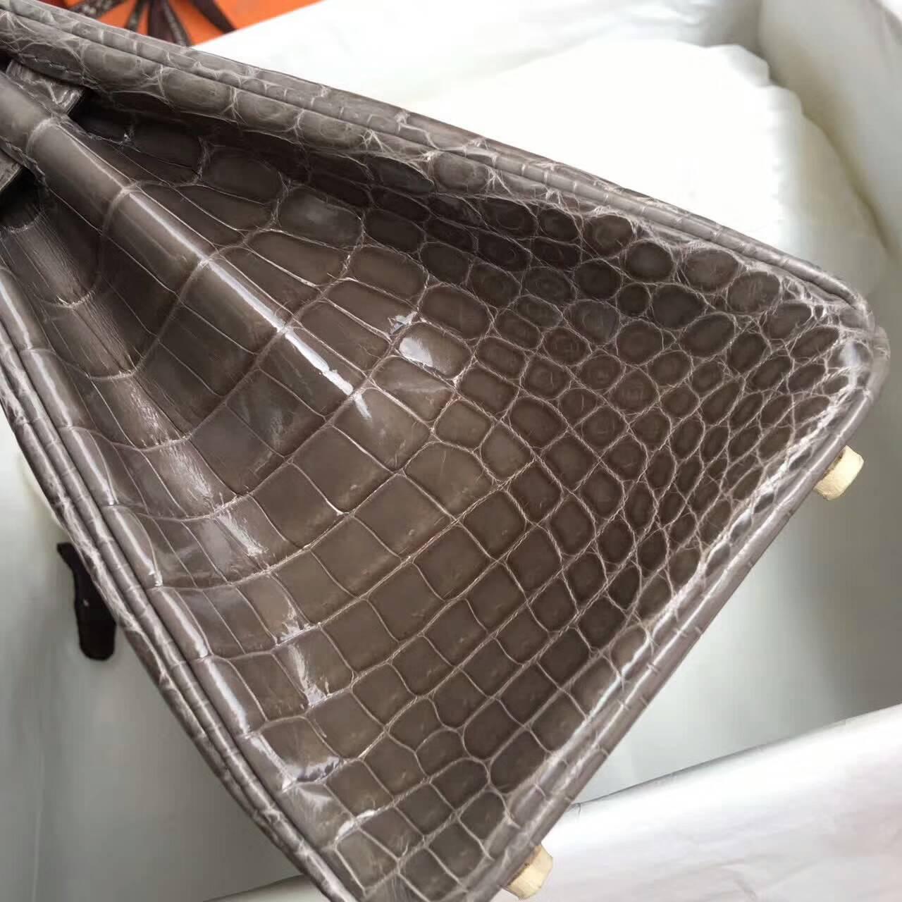 Birkin铂金包 Hermes包包 25cm Shiny Niloticus Crocodile 18 Etoupe 大象灰 金扣