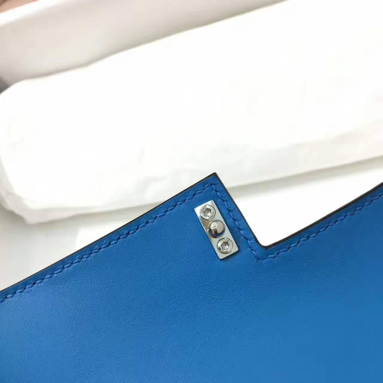 爱马仕Verrou插销包手枪包 17cm Chevre Mysore 法国原产山羊皮 7Q Mykonos 希腊蓝 爱情海蓝 银扣 蜡线纯手工顶级工艺
