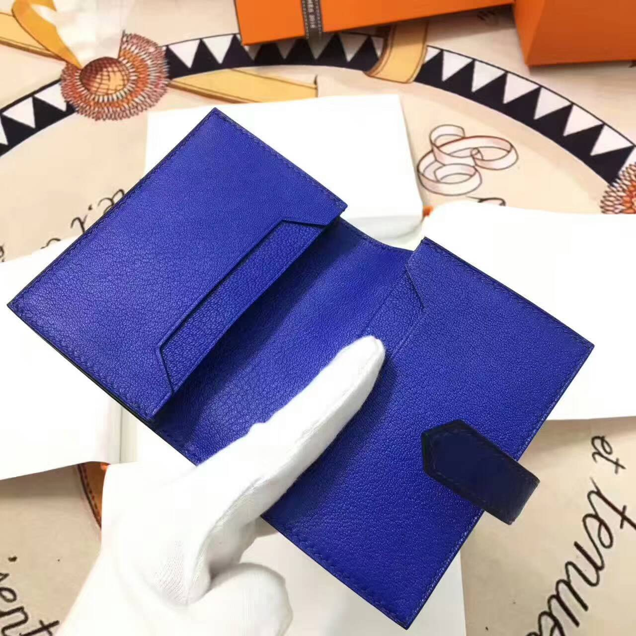 爱马仕卡包 鸵鸟皮 电光蓝 金扣 手工蜡线 时尚又实用