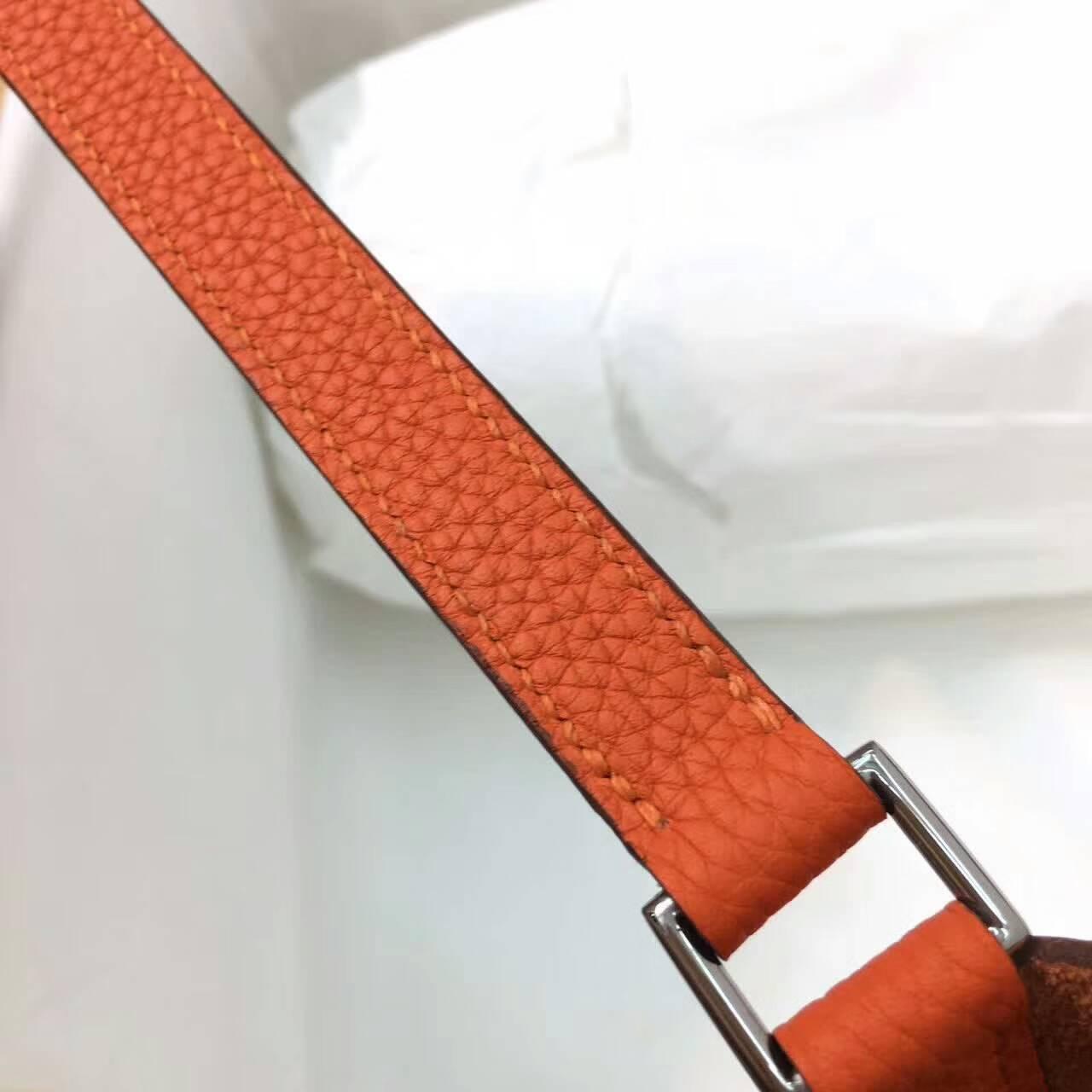 Hermes爱马仕菜篮子 Picotin Lock 22cm Clememce 法国原产Tc皮 9J Feu 火焰橙 银扣