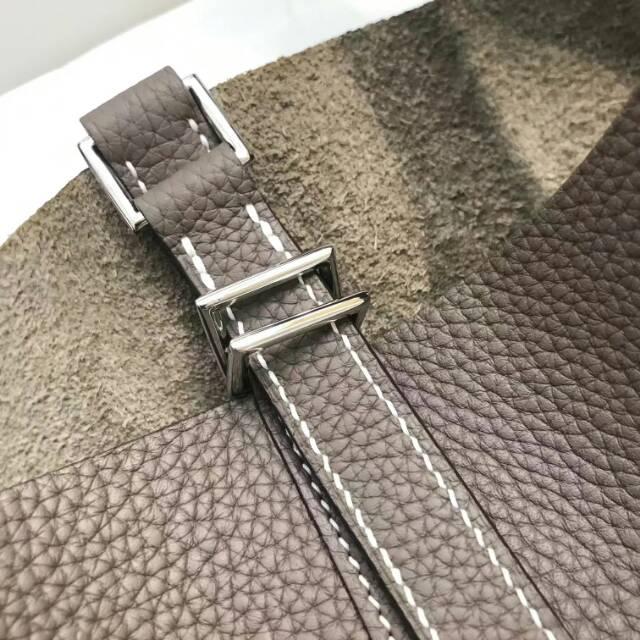 爱马仕菜篮子 Picotin Lock 22cm CC18 Etoupe 大象灰 蜡线手工缝制