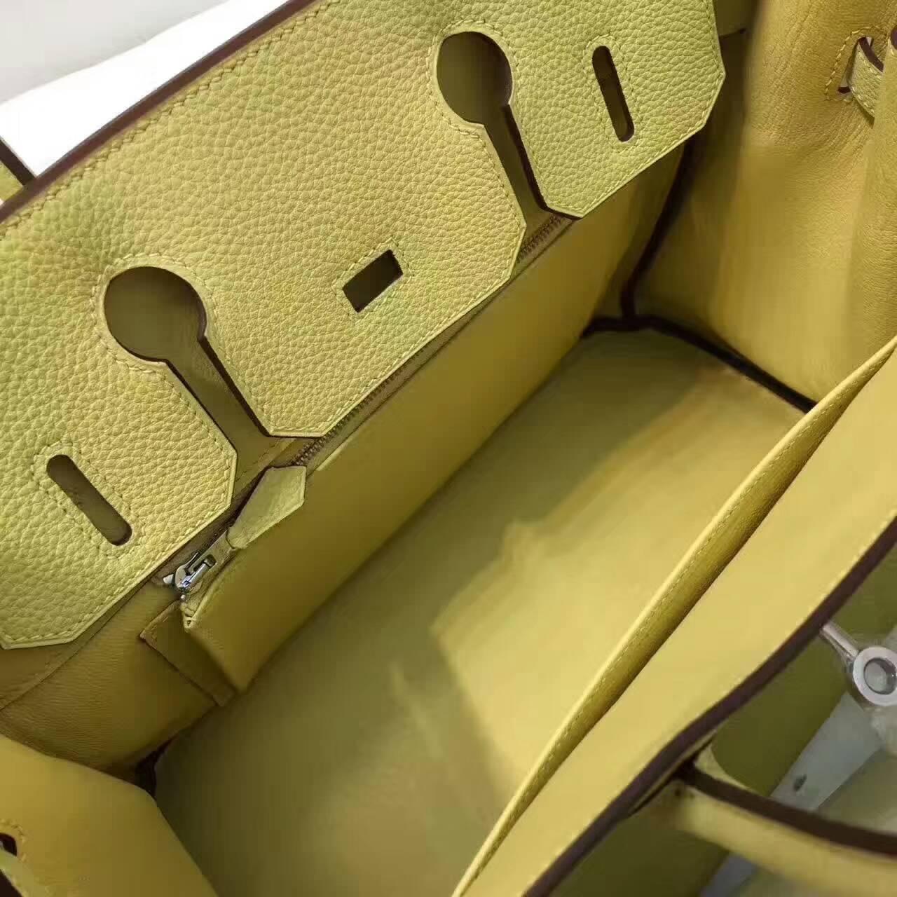 爱马仕铂金包 Birkin 30cm Togo 法国原产小牛皮 1Z Jaine Poessin 小鸡黄 银扣