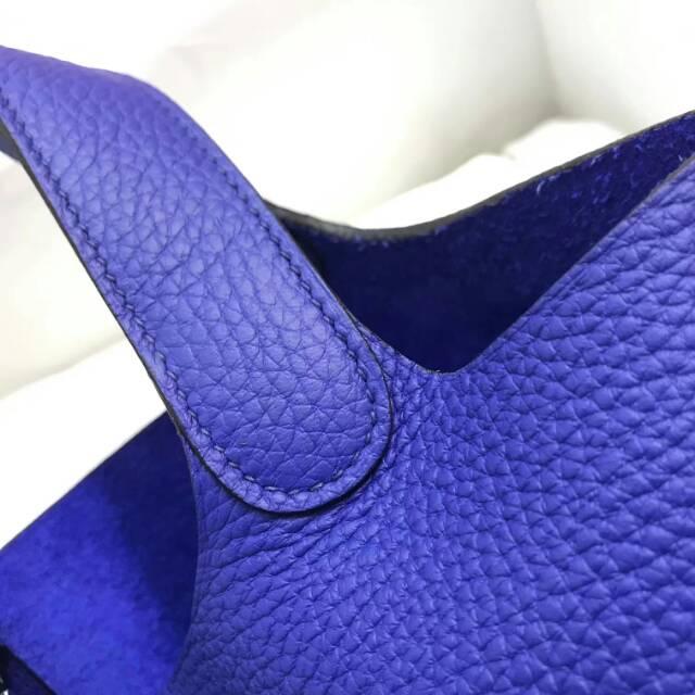 爱马仕菜篮子 Picotin Lock 22cm T7 Blue Htdra 电光蓝 蜡线手工缝制