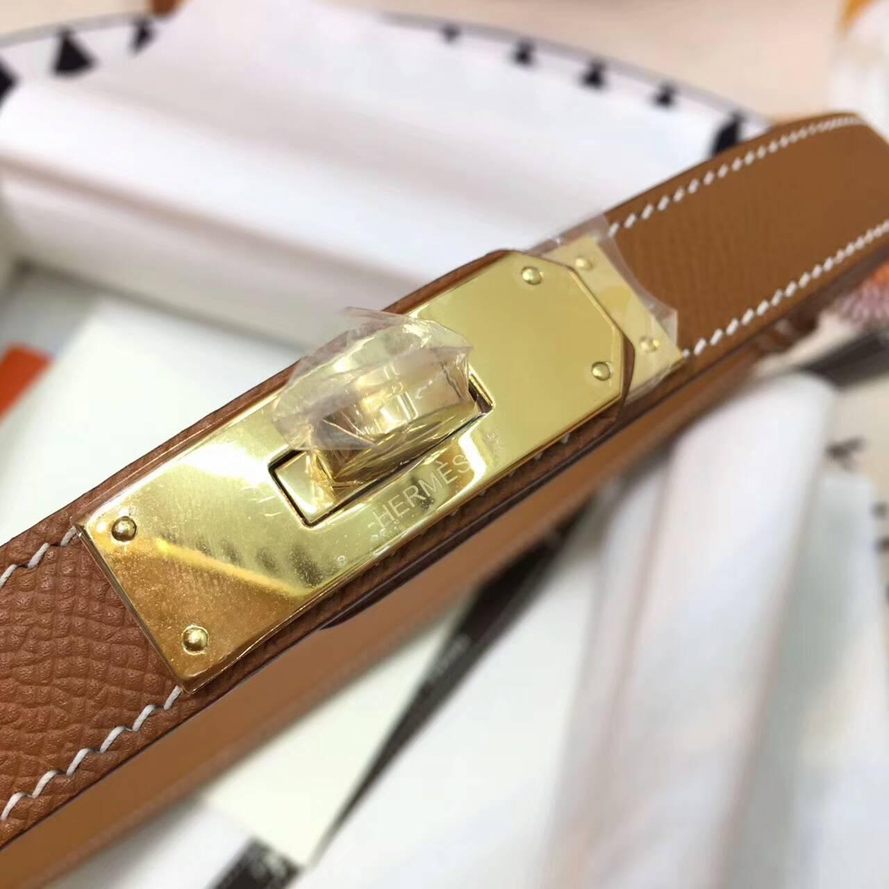 爱马仕Kelly 伸缩腰带腰带 Epsom 法国进口原产掌纹皮 37 Gold 金棕 金扣