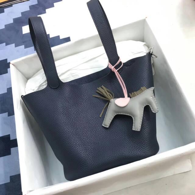 爱马仕菜篮子 Picotin Lock 22cm CC73 Blue Saphir 宝石蓝 蜡线手工缝制