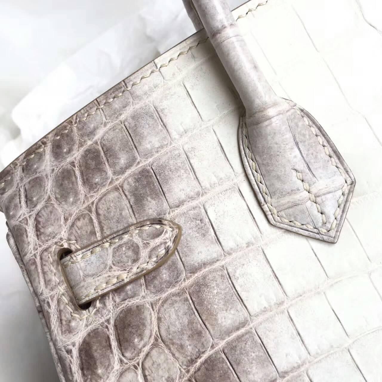 Birkin铂金包 Hermes包包 25cm Shiny Niloticus Crocodile 雾面两点非洲原产尼罗鳄 Mimalaya 喜马拉雅 银扣
