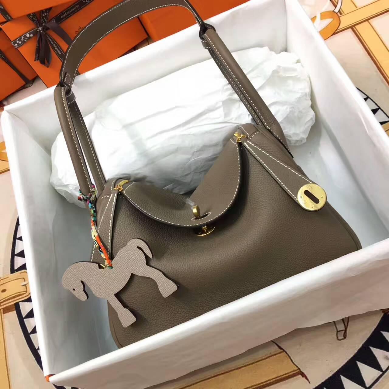 爱马仕Lindy包包 26cm Clemence 法国原产Togo大牛皮 大象灰 金扣