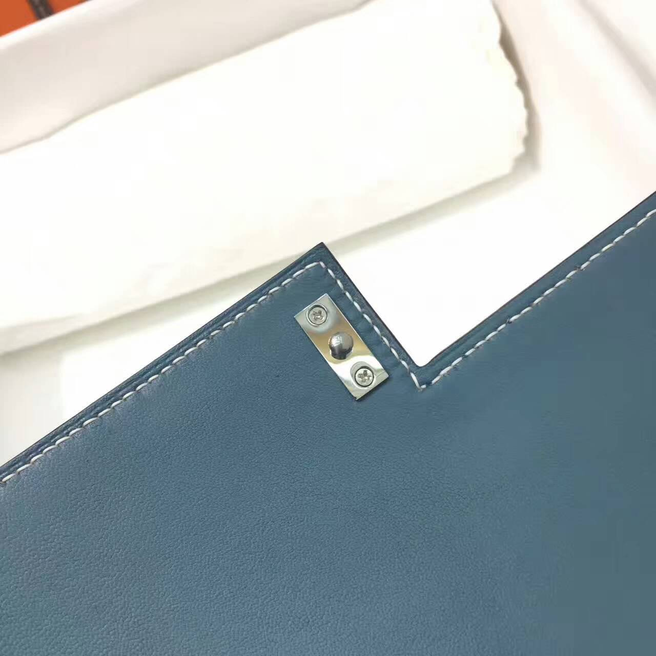 插销包手枪包 爱马仕全球同步发售 Verrou 23cm Epsom 法国原产掌纹皮 75 Blue Jean 牛仔蓝 银扣