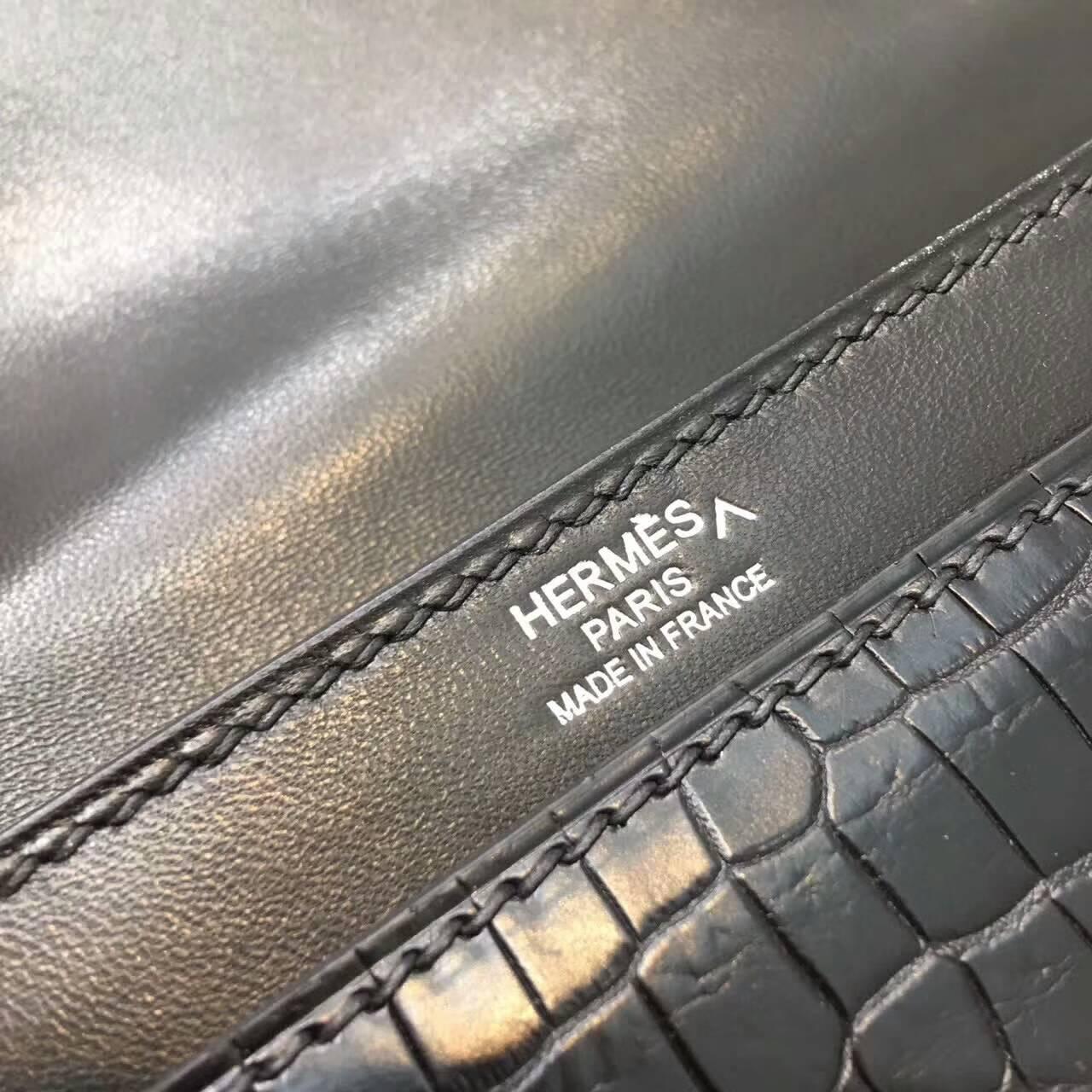 插销包手枪包 爱马仕全球同步发售 Verrou 17cm Shiny Nilotious Crocodile 雾面两点非洲原产尼罗鳄 89 Nior 黑色 银扣