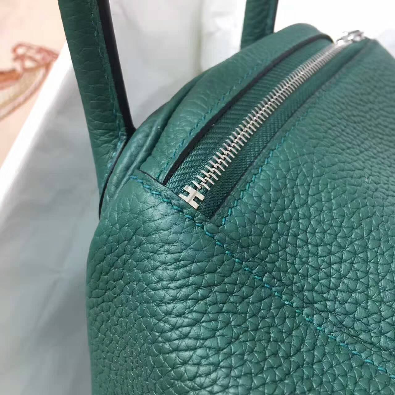 爱马仕Lindy包包 26cm Clemence 法国原产Togo大牛皮 孔雀绿