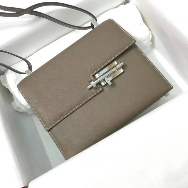 爱马仕Verrou插销包手枪包 24cm epsom皮 大象灰 银扣 蜡线纯手工顶级工艺