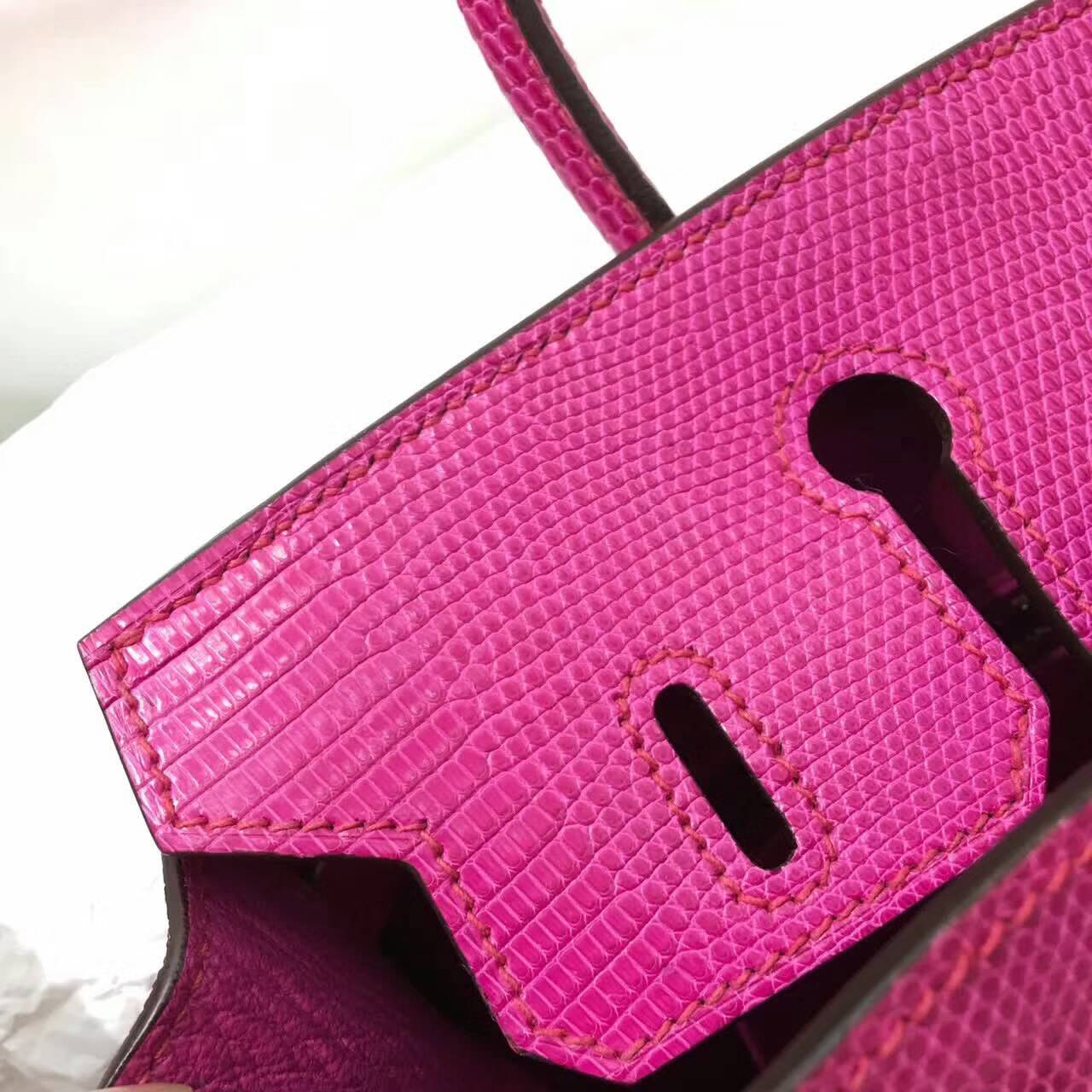Birkin铂金包 Hermes包包 25cm Lizard 东南亚原产蜥蜴皮 J5 Rose Sheherazade 天荒夜谭紫 金扣