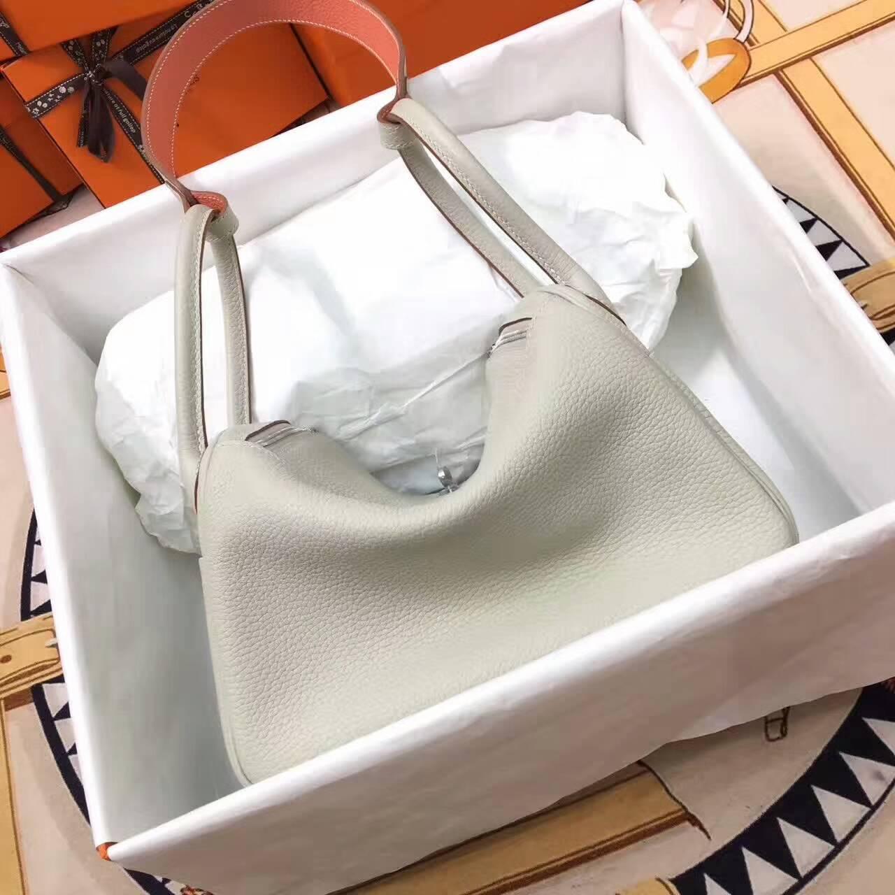 爱马仕Lindy包包 26cm Clemence 法国原产Togo大牛皮 珍珠灰内龙虾粉