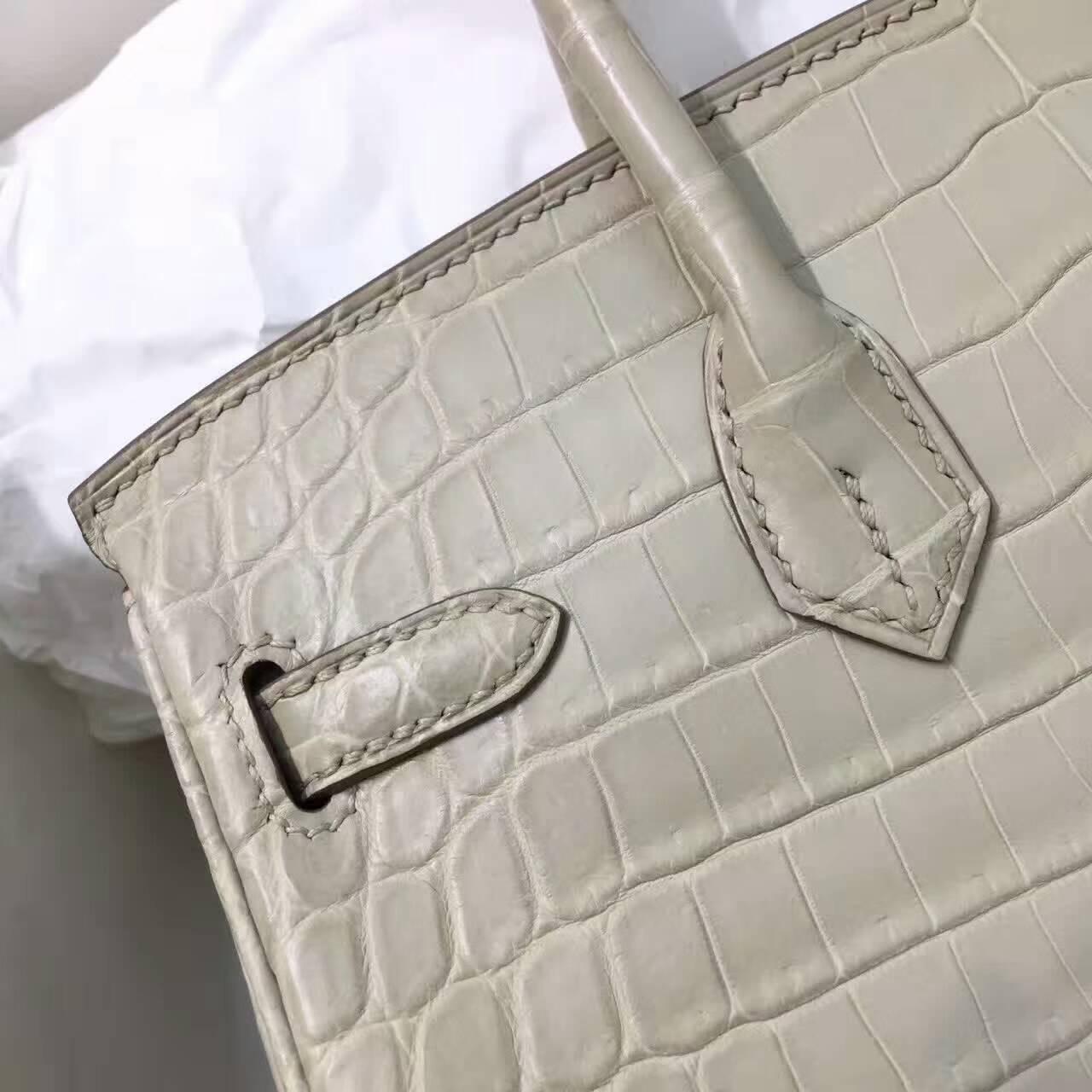 Birkin铂金包 Hermes包包 25cm Shiny Niloticus Crocodile 雾面两点非洲原产尼罗鳄 8L Beton 奶油白