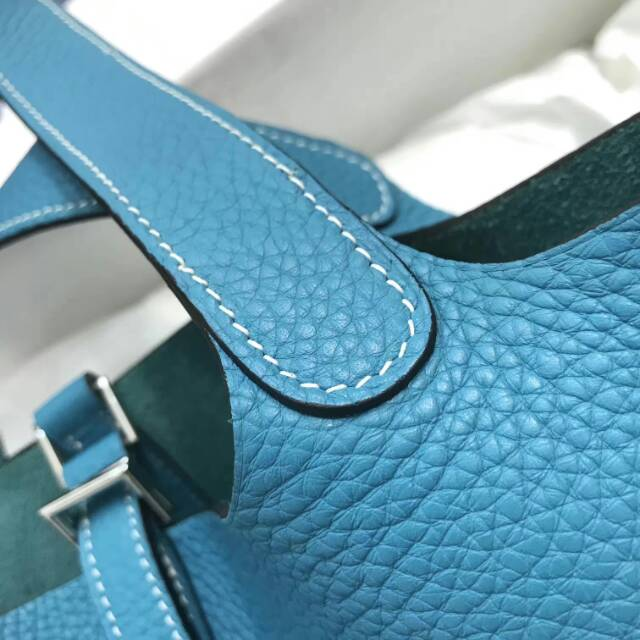 爱马仕菜篮子 Picotin Lock 22cm 7B Tuequoise 松石蓝 蜡线手工缝制