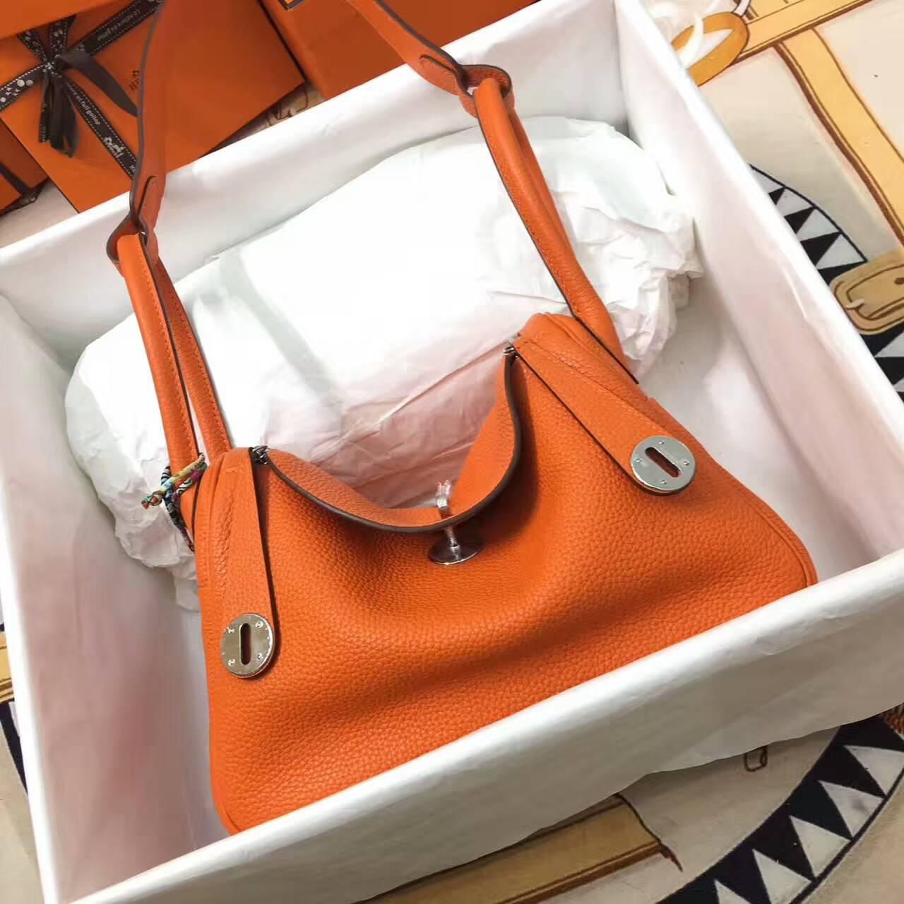 爱马仕Lindy包包 26cm Clemence 法国原产Togo大牛皮 橙色 银扣