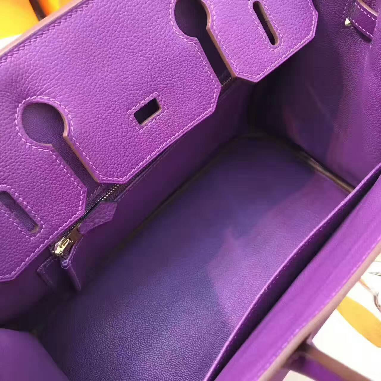 爱马仕铂金包 Birkin 30cm Togo 法国原产小牛皮 P9 Anemonb 海葵紫 金扣