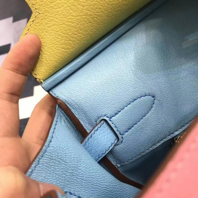 全球代发 爱马仕铂金包 Birkin 35cm 山羊皮 三拼色 蜡线手缝