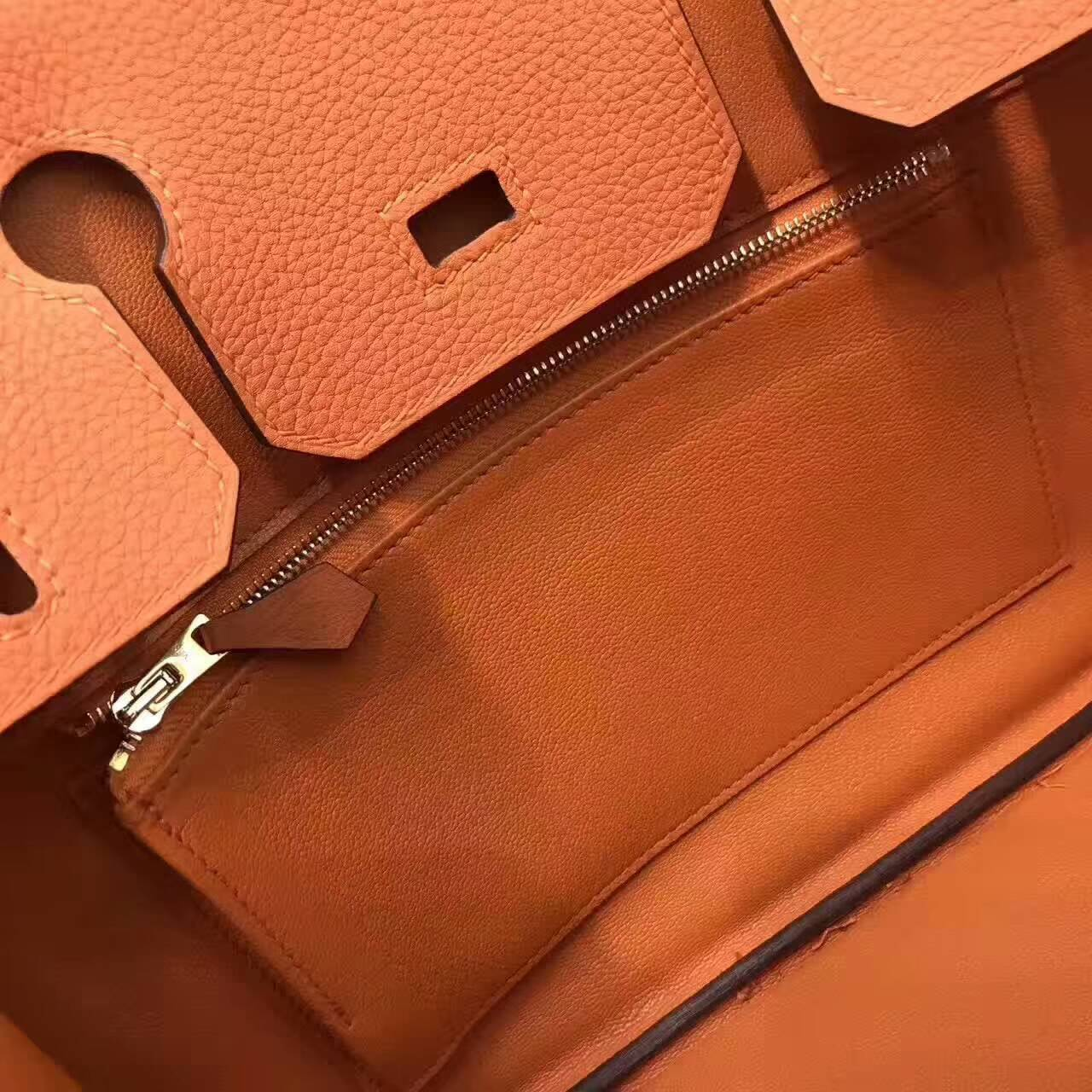 爱马仕铂金包 Birkin 30cm Togo 法国原产小牛皮 93 Orange 橙色 银扣