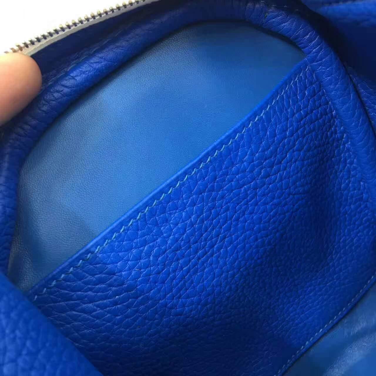 爱马仕Lindy包包 26cm Clemence 法国原产Togo大牛皮 纯白内拼希腊蓝