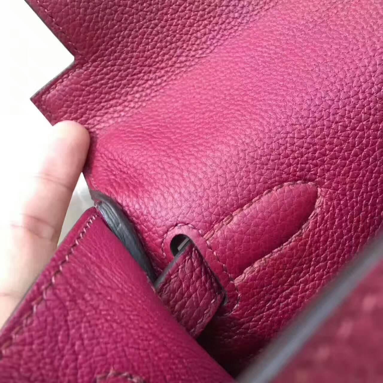 爱马仕凯莉包 Kelly 28cm Togo 法国原产小牛皮 B5 Rubis 宝石红 银扣