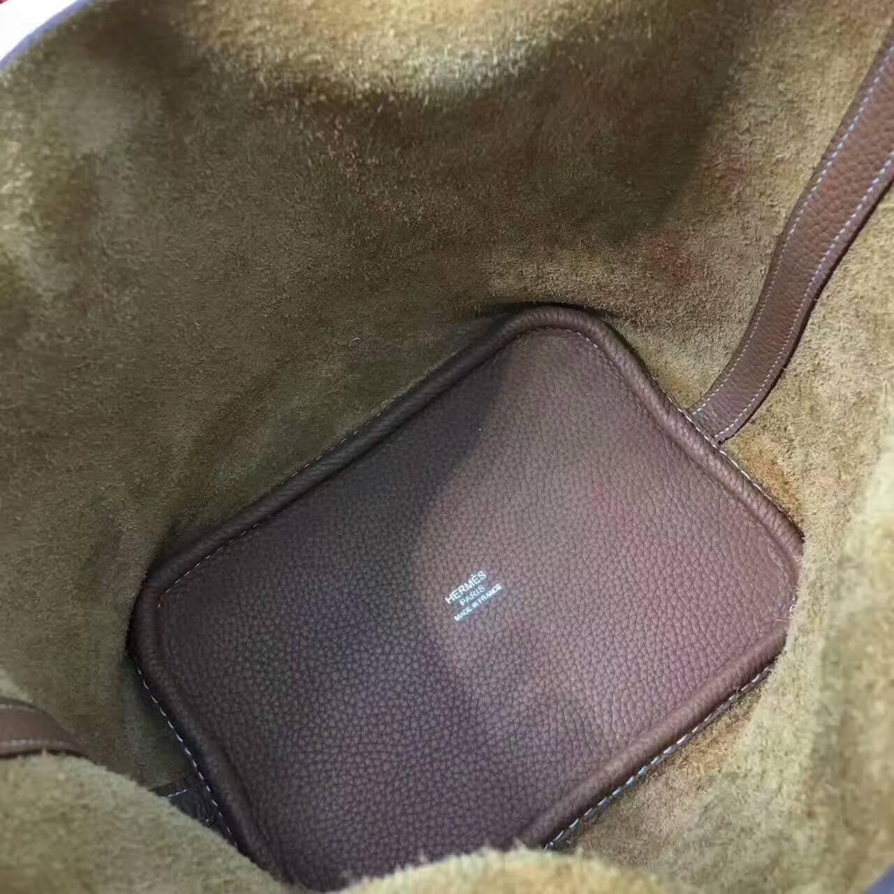 Hermes菜篮子 手工蜡线 18-22cm Togo皮 土黄 时尚又实用