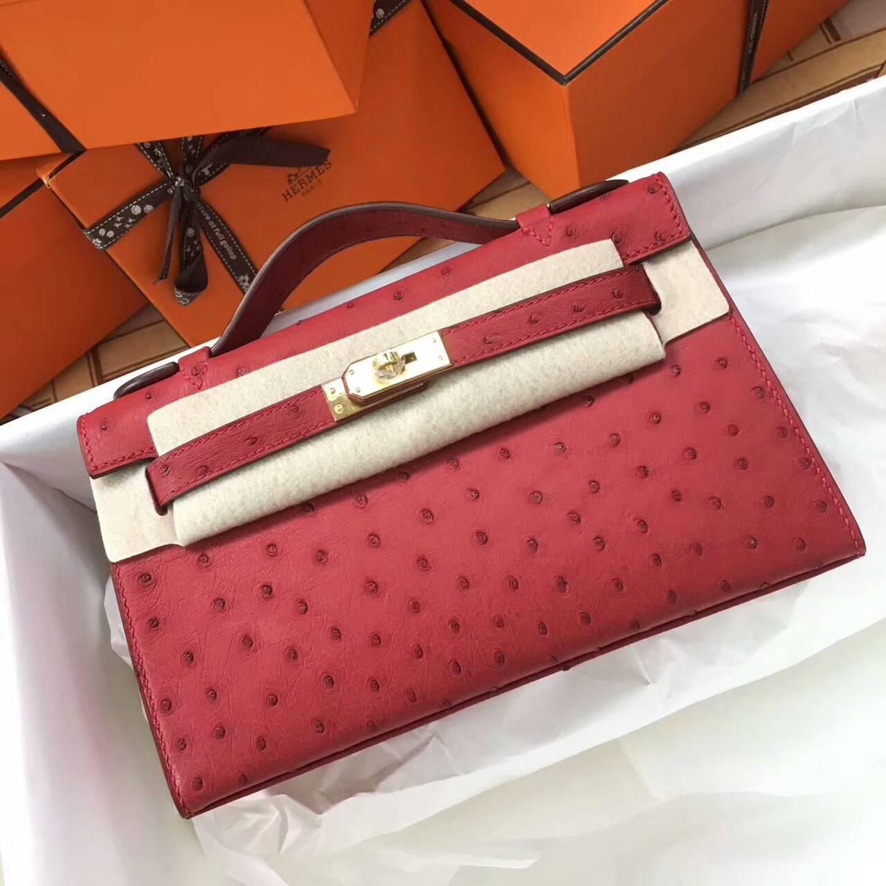 Hermes爱马仕 Mini Kelly pochette 22cm Ostrich Leather 南非原产KK级鸵鸟皮 Q5 Rouge Casaqbe 中国红 金扣