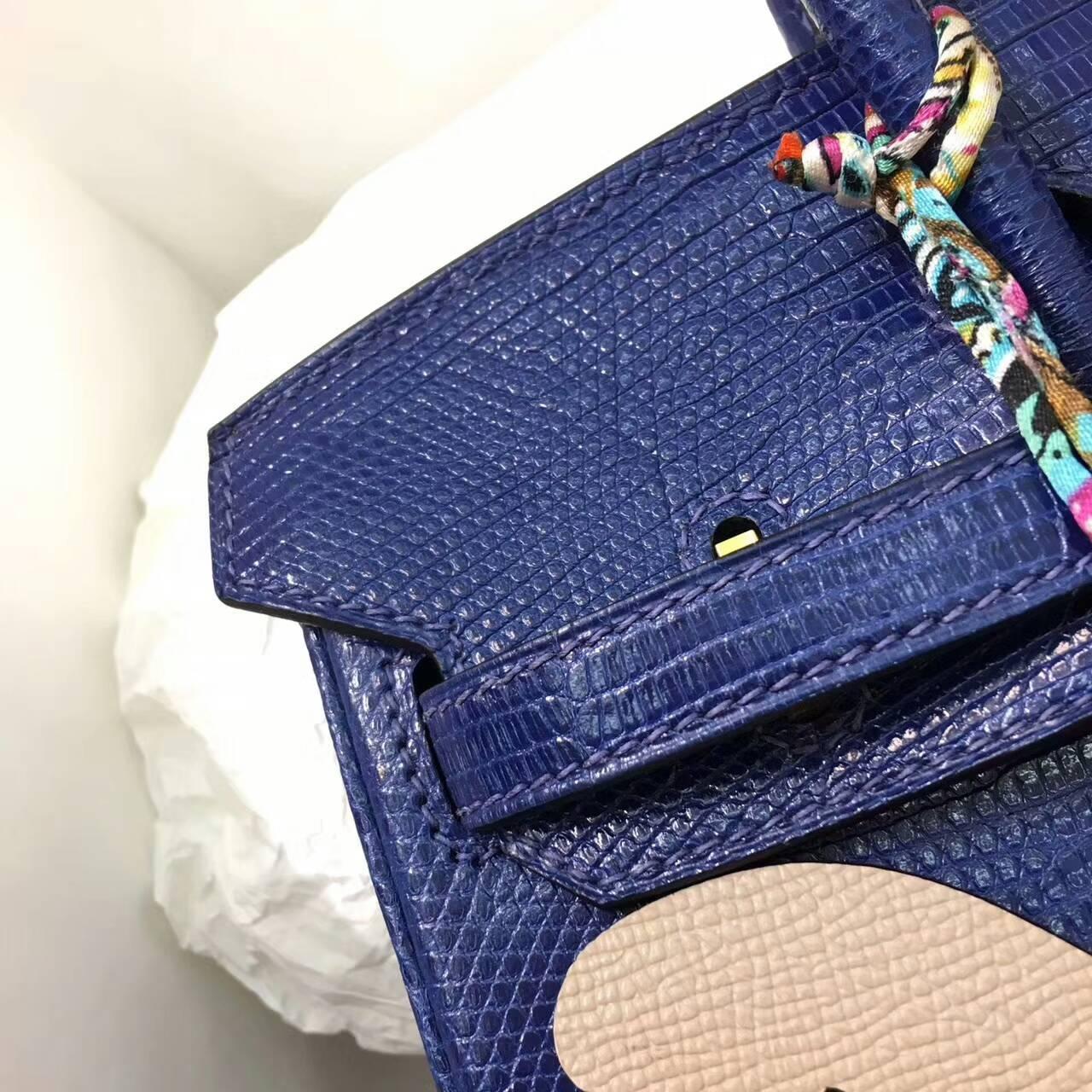 Birkin铂金包 Hermes包包 25cm Lizard 东南亚原产蜥蜴皮 T7 Blue Htdra 电光蓝 金扣