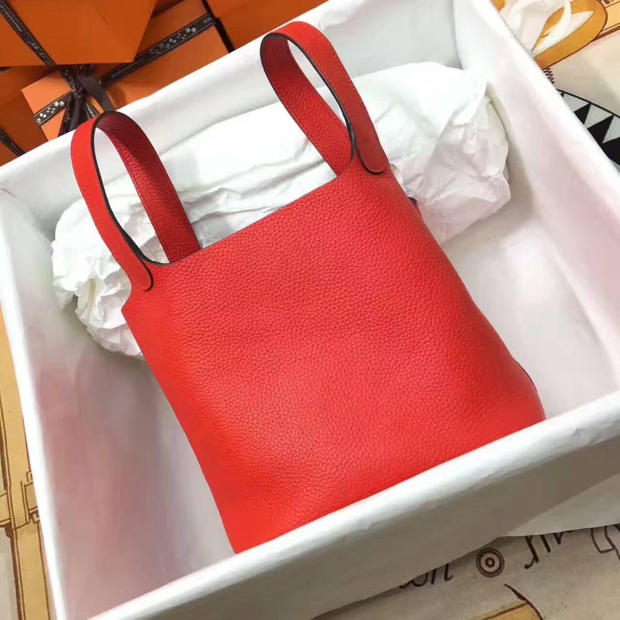 Hermes菜篮子 手工蜡线 18-22cm Togo皮 爱马仕红 时尚又实用