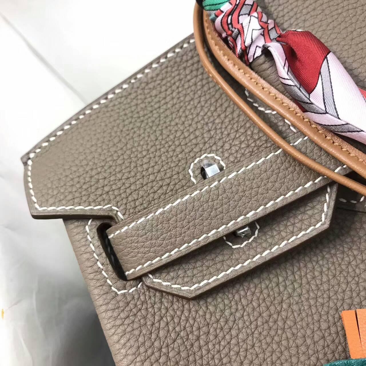 爱马仕包包全球同步发售 Birkin 30cm Togo 法国原产小牛皮 18 Etoupe 大象灰 银扣