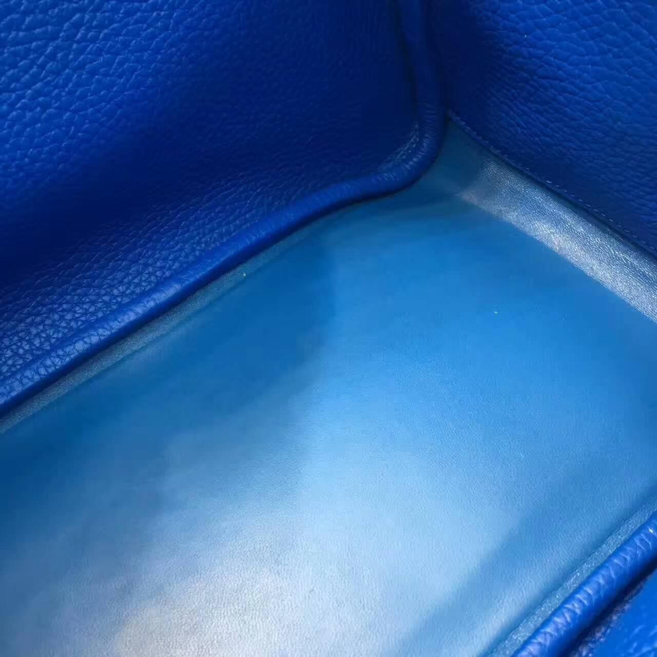 爱马仕Lindy包包 26cm Clemence 法国原产Togo大牛皮 纯白拼希腊蓝