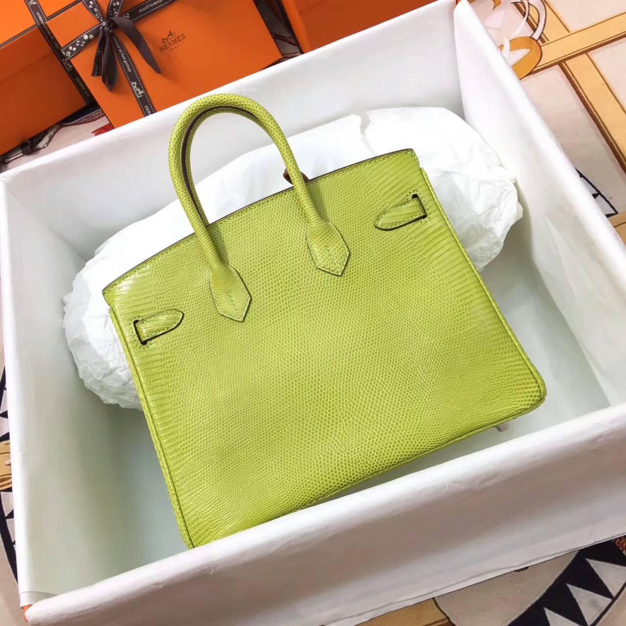 Birkin铂金包 Hermes包包 25cm Lizard 东南亚原产蜥蜴皮 6R Kiwi 奇异果绿 糖果绿 银扣