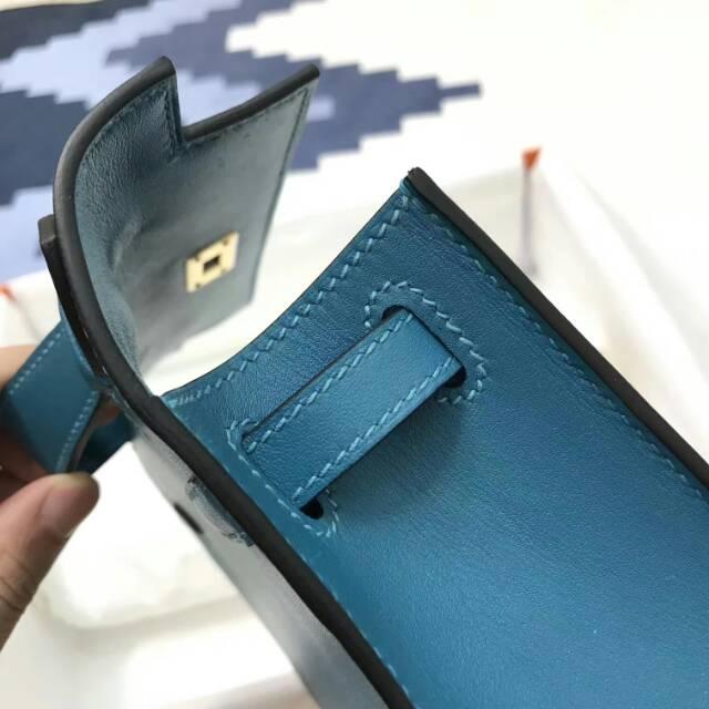 爱马仕包包 stock 22kelly pochette swift皮 7W Blue Ibmir 伊兹密尔蓝 金扣 进口法国蜡线手工缝制