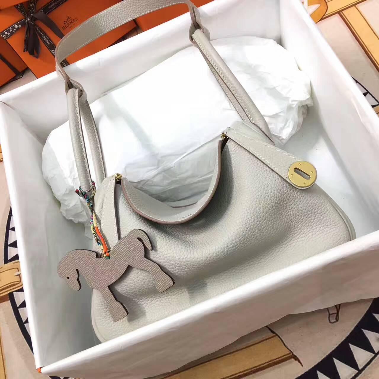 爱马仕Lindy包包 26cm Clemence 法国原产Togo大牛皮 珍珠灰
