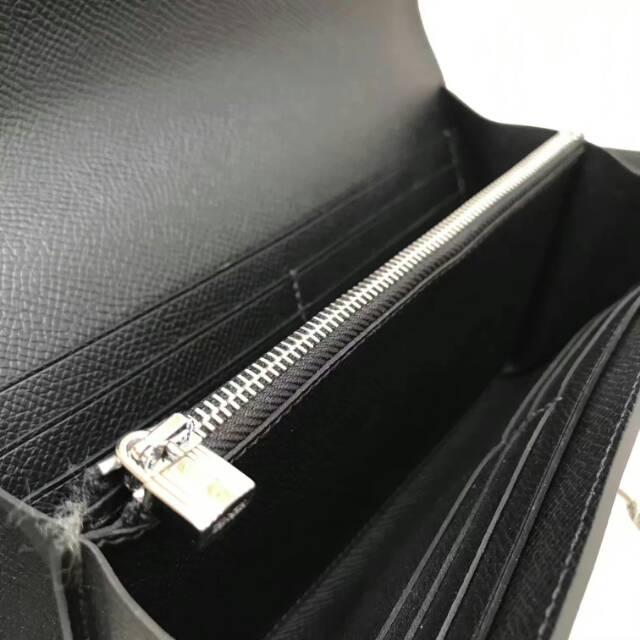 爱马仕Kelly long 21.5cm epsom CC89 Nior 黑色 银扣 手缝蜡线 看得见的工艺