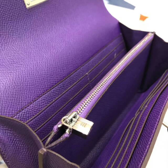 爱马仕Kelly long 21.5cm epsom 9V Crocus 梦幻紫 银扣 手缝蜡线 看得见的工艺