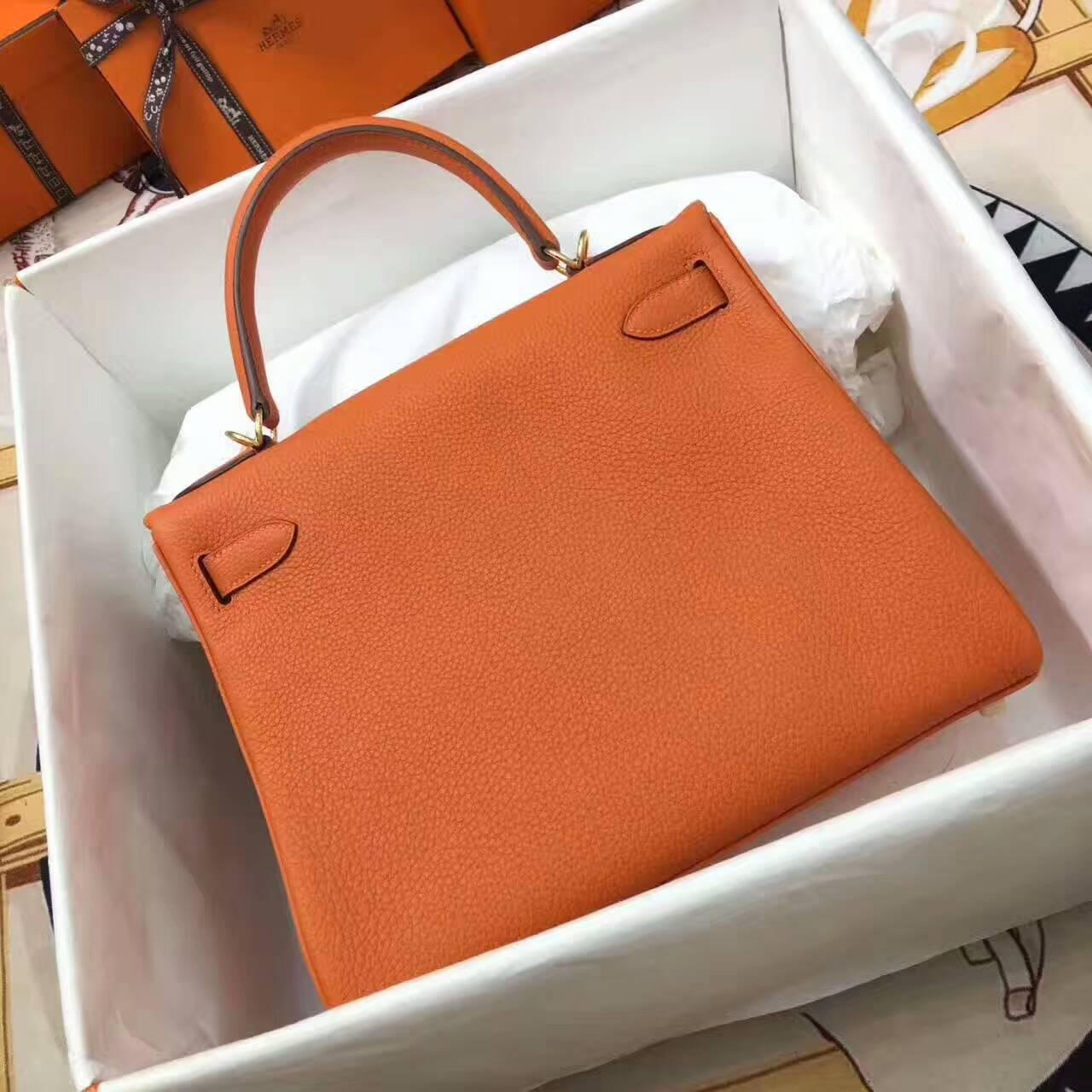 爱马仕包包 全球同步发售 Kelly 28cm Togo 法国原产小牛皮 93 Orange 橙色 金扣