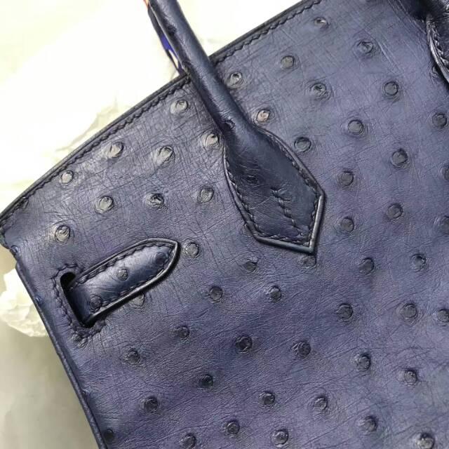 爱马仕全球代发 25Birkin 进口南非KK鸵鸟皮 宝石蓝 银扣 蜡线纯手工顶级工艺