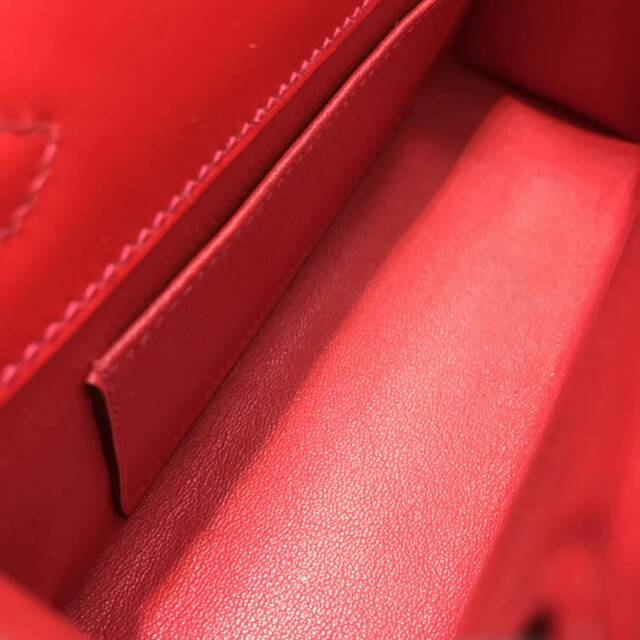 爱马仕包包 stock 22kelly pochette box皮 D5 Geranium 天竺葵红 金扣 进口法国蜡线手工缝制