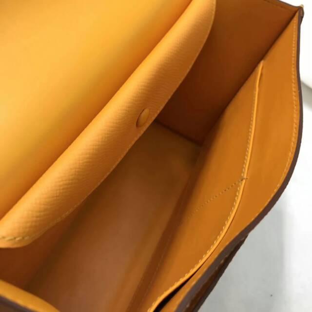 爱马仕Verrou插销包手枪包 24cm epsom皮 太阳黄 银扣 蜡线纯手工顶级工艺