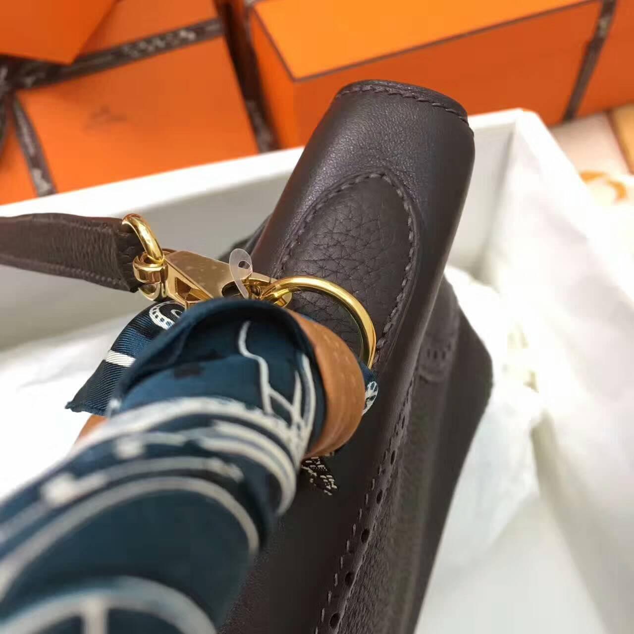 爱马仕包包 全球同步发售 Kelly 32cm蕾丝 47Chocolat 巧克力色 深啡 金扣