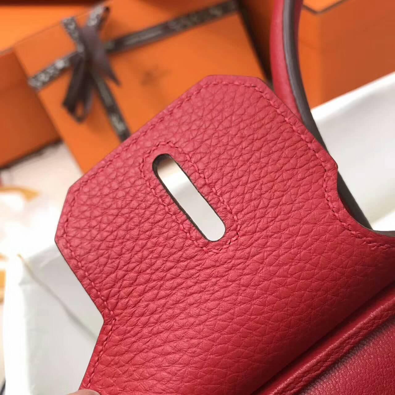 爱马仕包包全球同步发售 Birkin 30cm Togo 法国原产小牛皮 Q5 Rouge Casaqbe 中国红 银扣