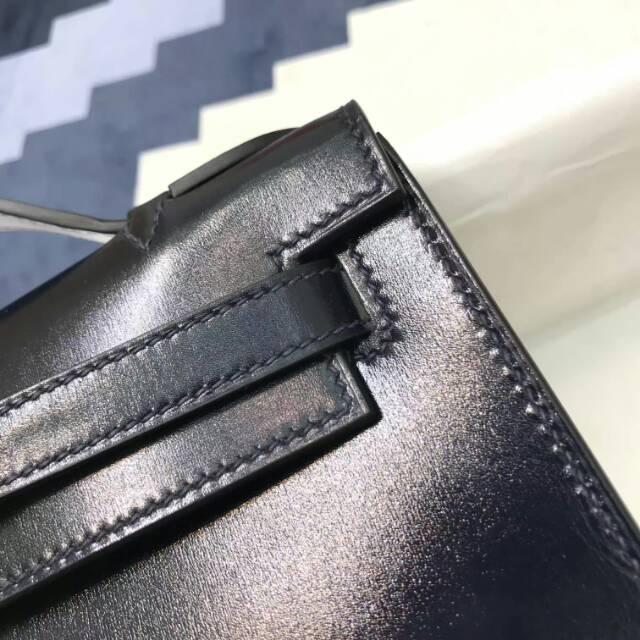 爱马仕包包 stock 22kelly pochette box皮 CC73 Blue Saphir 宝石蓝 银扣 进口法国蜡线手工缝制